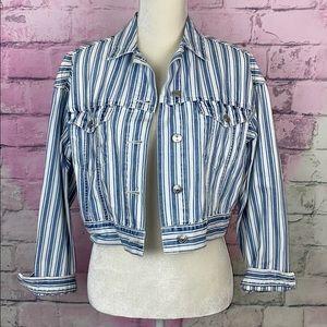 American Eagle blue white striped jacket XS
